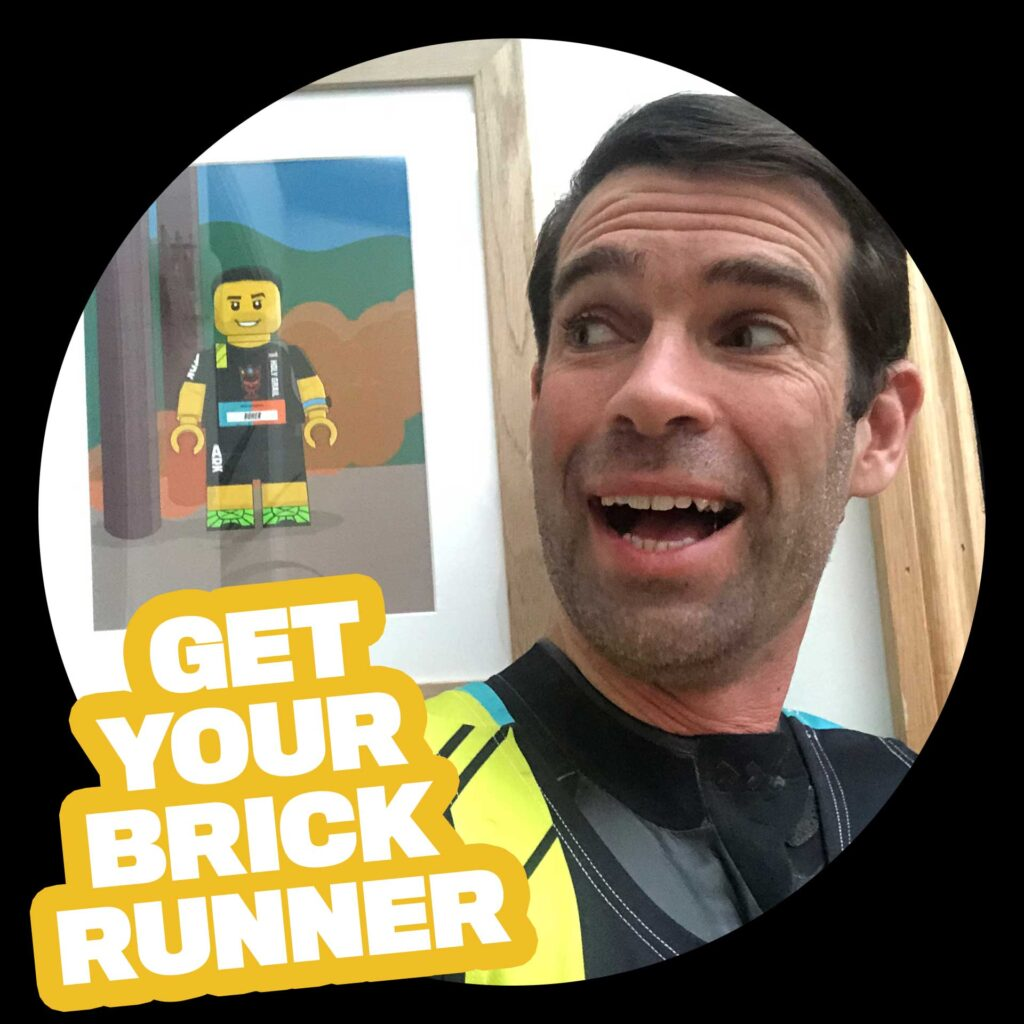 Get Your BrickRunner - picture of customer smiling next to their printed BrickRunner picture
